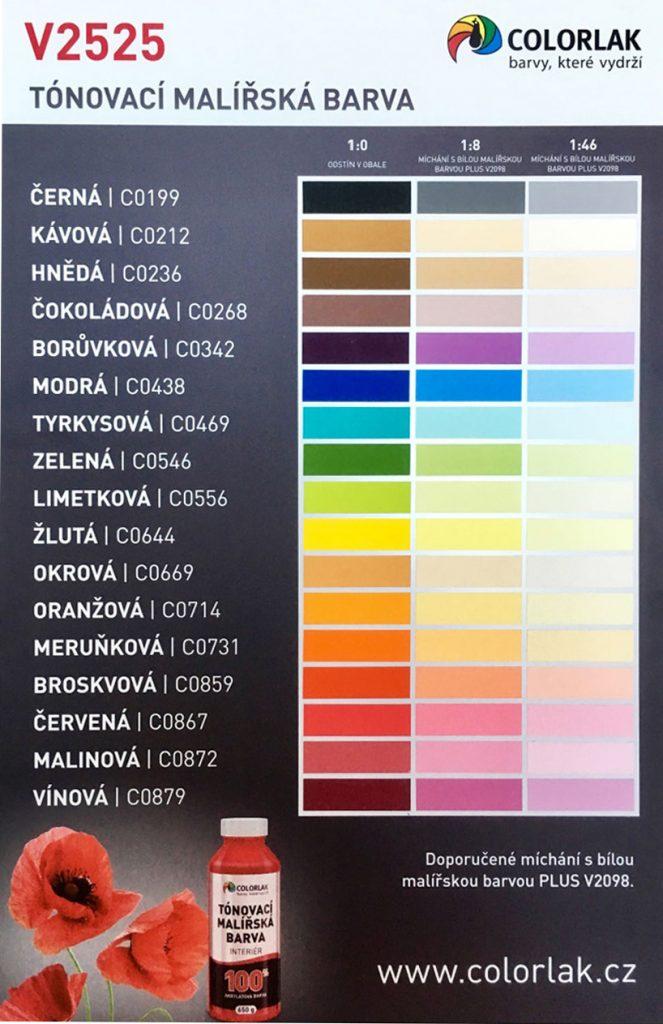 V2525 - Tonovaci malirska barva - vzorkovnice COLORLAK
